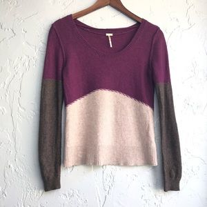 Free People Beach Colorblock Merino Wool Sweater